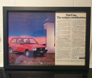 1983 Fiat Uno Framed Advert Original