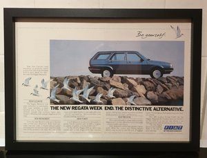 1987 Fiat Regatta Framed Advert Original