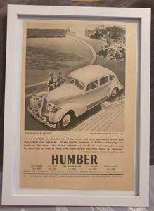 Original 1939 Humber Super Snipe Framed Advert