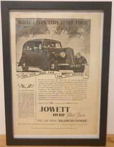 Picture of 1963 Original 1937 Jowett 10 H.P. Framed Advert