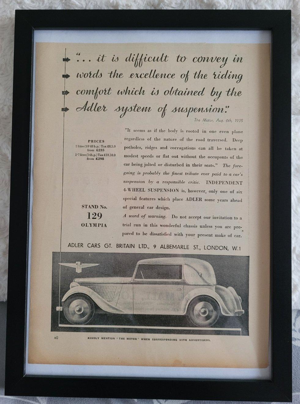 1975 Original 1935 Adler Framed Advert  For Sale (picture 1 of 3)
