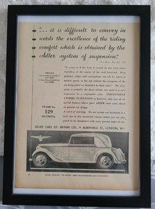 Original 1935 Adler Framed Advert