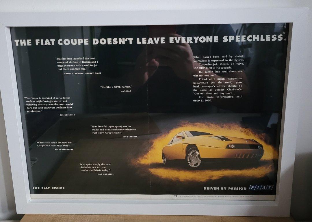 Original 1995 Fiat Coupe Framed Advert