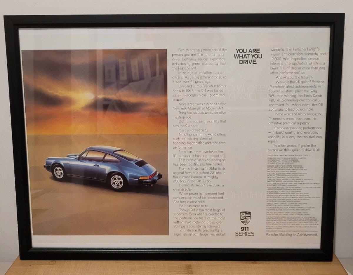 1965 Original 1985 Porsche 911 Framed Advert For Sale (picture 1 of 3)