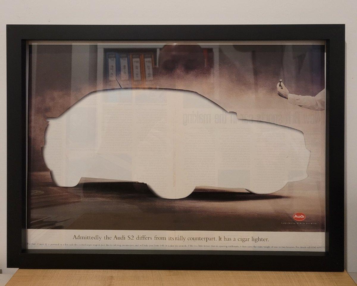 1984 Original 1998 Audi S2 Framed Advert For Sale (picture 1 of 3)