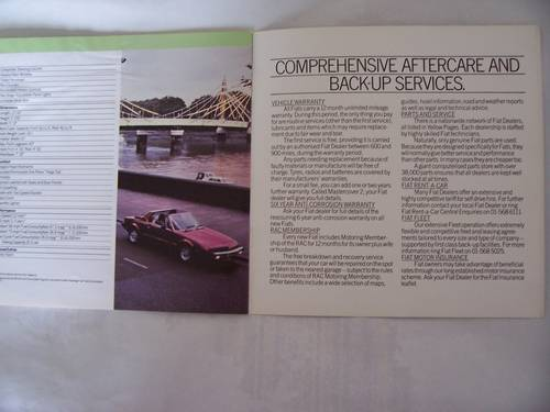 1982 FIAT X 1/9 COLOUR SALES BROCHURE For Sale (picture 6 of 6)