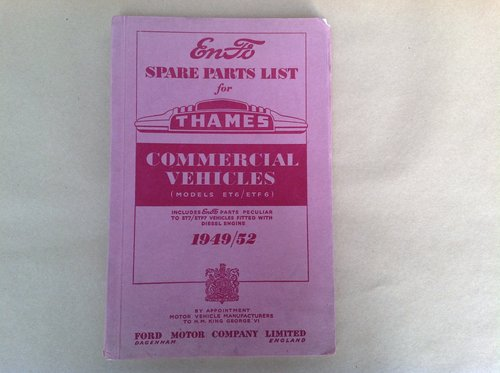 Thames Commercial Spare Parts List 1949/52 For Sale (picture 1 of 2)