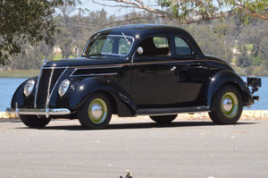 1937 Ford Coupe = Custom mods 5.0 FI + AC  Black  $57k For Sale