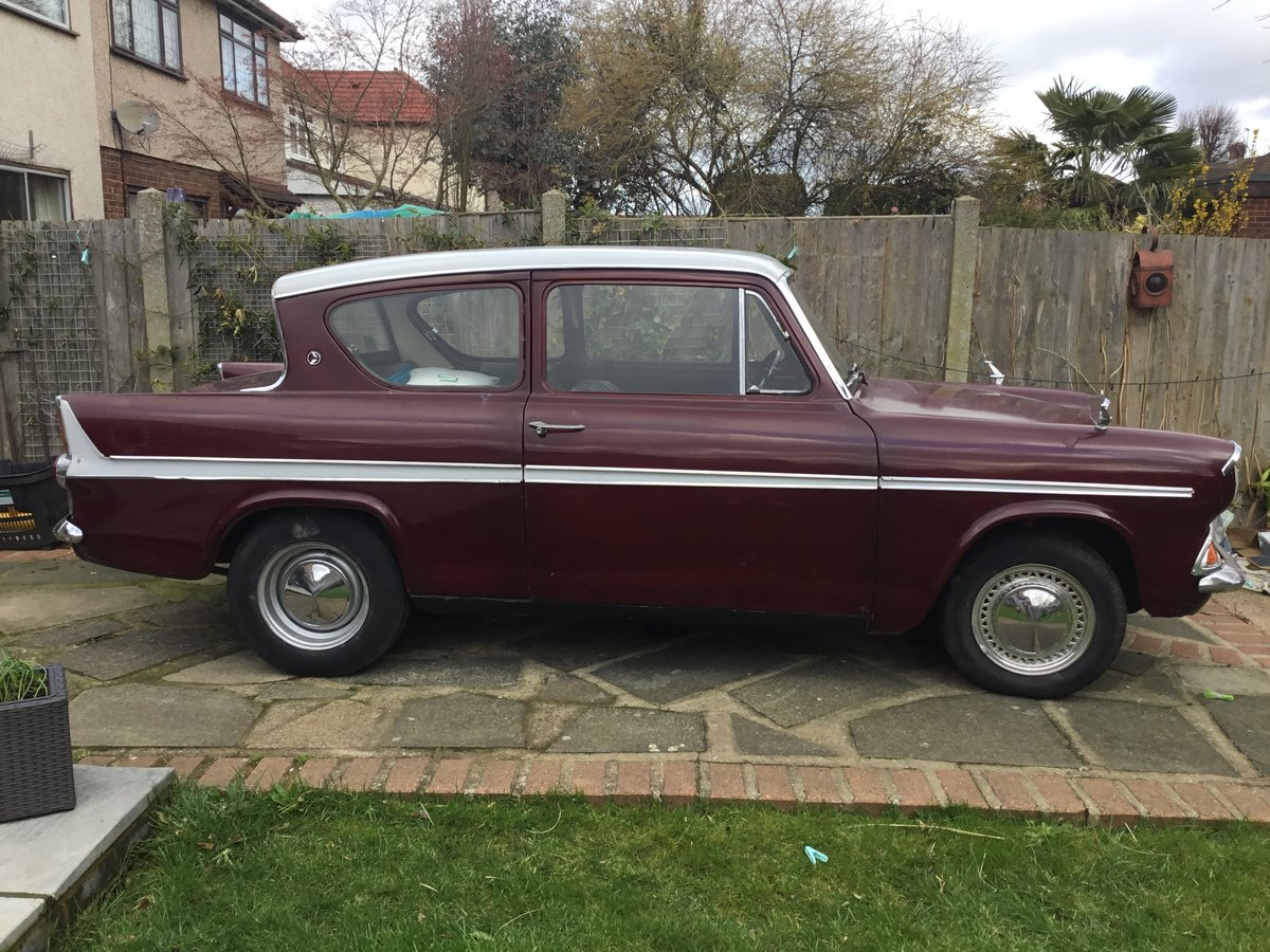 1967 Anglia 1200 Super Maroon and Light Grey SOLD (picture 2 of 4)