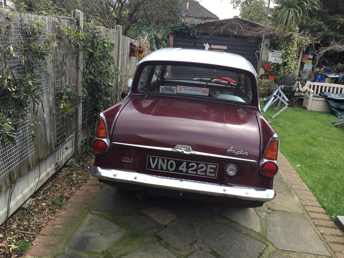 1967 Anglia 1200 Super Maroon and Light Grey SOLD (picture 3 of 4)