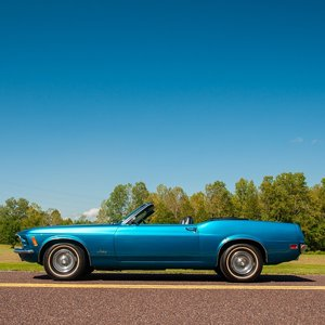 1970 Ford Mustang Convertible = 302 Auto 15k miles Blue $24. For Sale