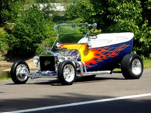 1923 Ford T Bucket = Custom Flames V-8 auto $22.5k
