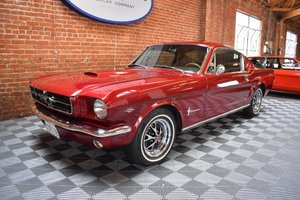 1965 Ford Mustang FastBack = V-8 + Auto Red(~)Black $49.5k