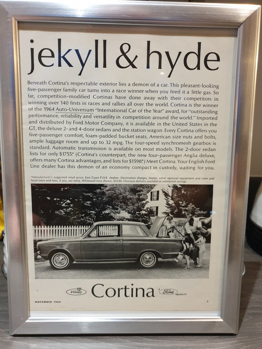 Original 1964  Ford Cortina Framed Advert For Sale (picture 1 of 2)