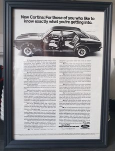 Ford Cortina advert Original framed