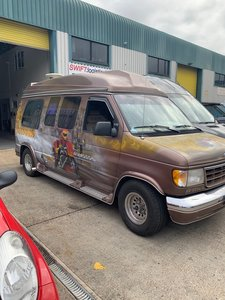 1992 Ford Day Van with motorcycle artwork paint job