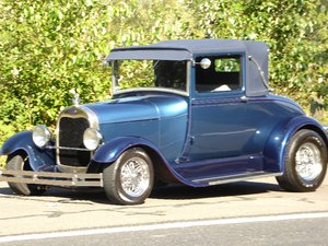 1928 Ford Roadster Rumble(~)Seat Restored Clean Blue driver For Sale