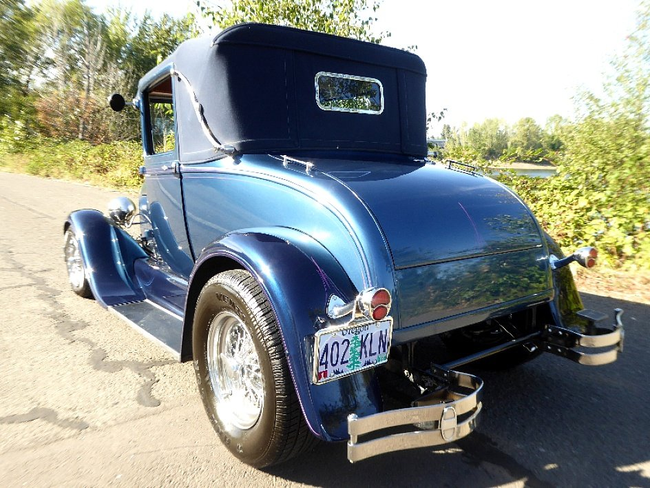 1928 Ford Roadster Rumble(~)Seat Restored Clean Blue driver For Sale (picture 2 of 6)