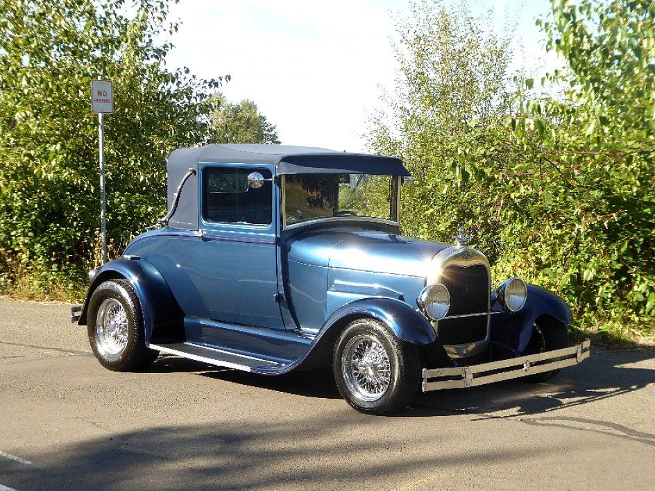 1928 Ford Roadster Rumble(~)Seat Restored Clean Blue driver For Sale (picture 5 of 6)