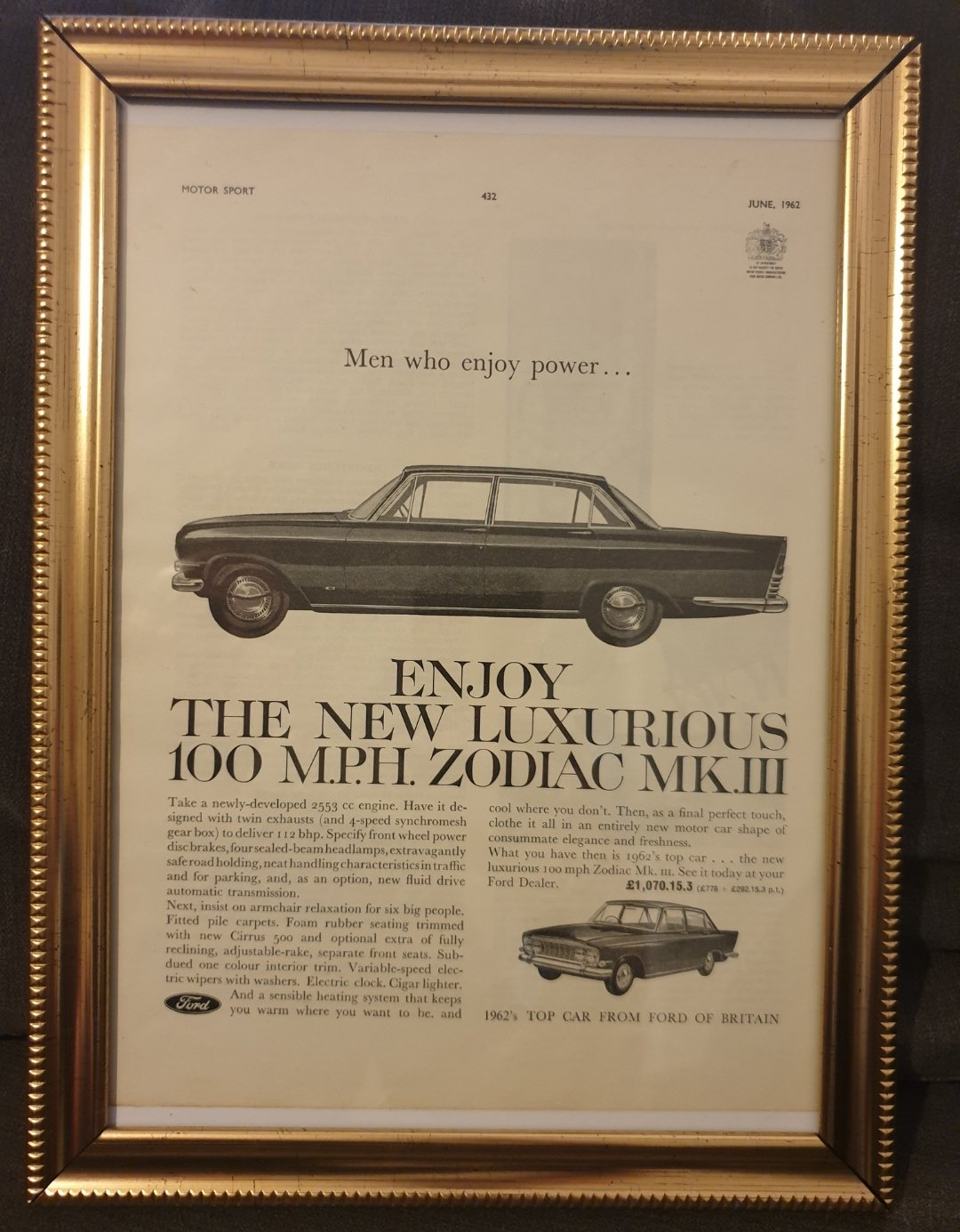 Original 1962 Ford Zodiac Framed advert For Sale (picture 1 of 2)