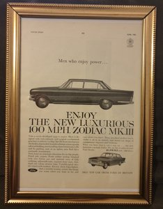Original 1962 Ford Zodiac Framed advert