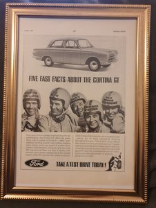 Original Ford Cortina GT Framed Advert