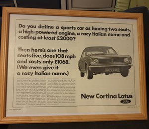 1967 Original Lotus Cortina Advert For Sale