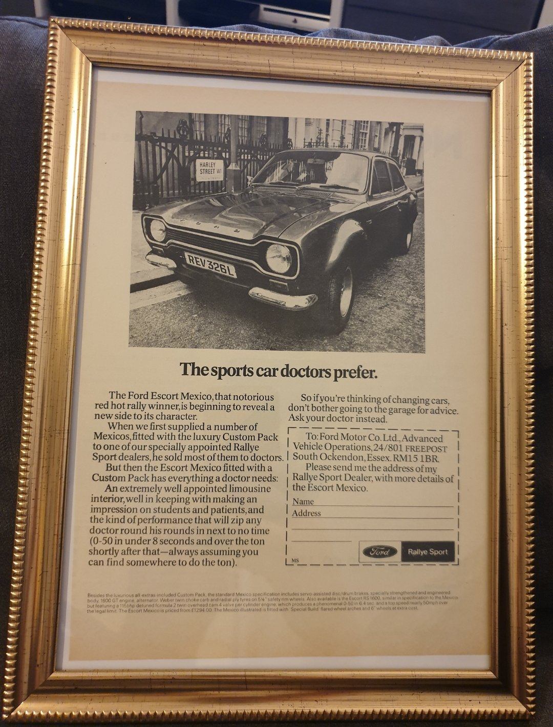 1972 Escort Mexico Framed Advert Original  For Sale (picture 1 of 2)