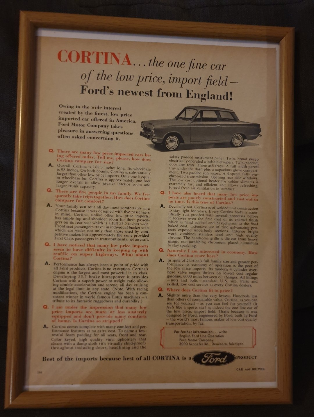 1963 US Cortina Advert Original  For Sale (picture 1 of 2)