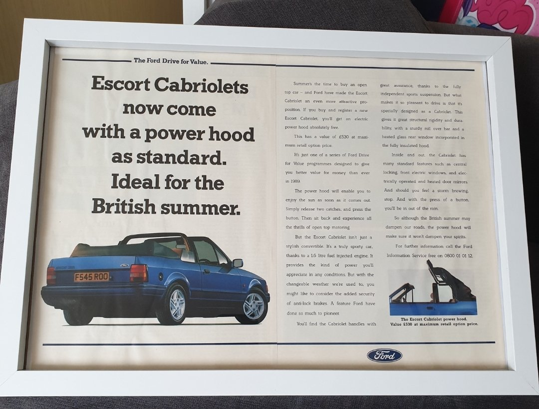 Original 1989 Ford Escort Cabriolet Framed Advert For Sale (picture 1 of 3)
