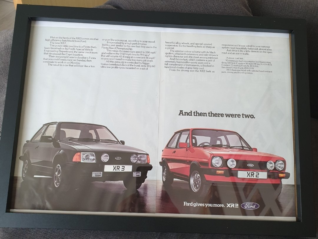 1982 Ford Fiesta XR2 Framed Advert Original  For Sale (picture 1 of 2)