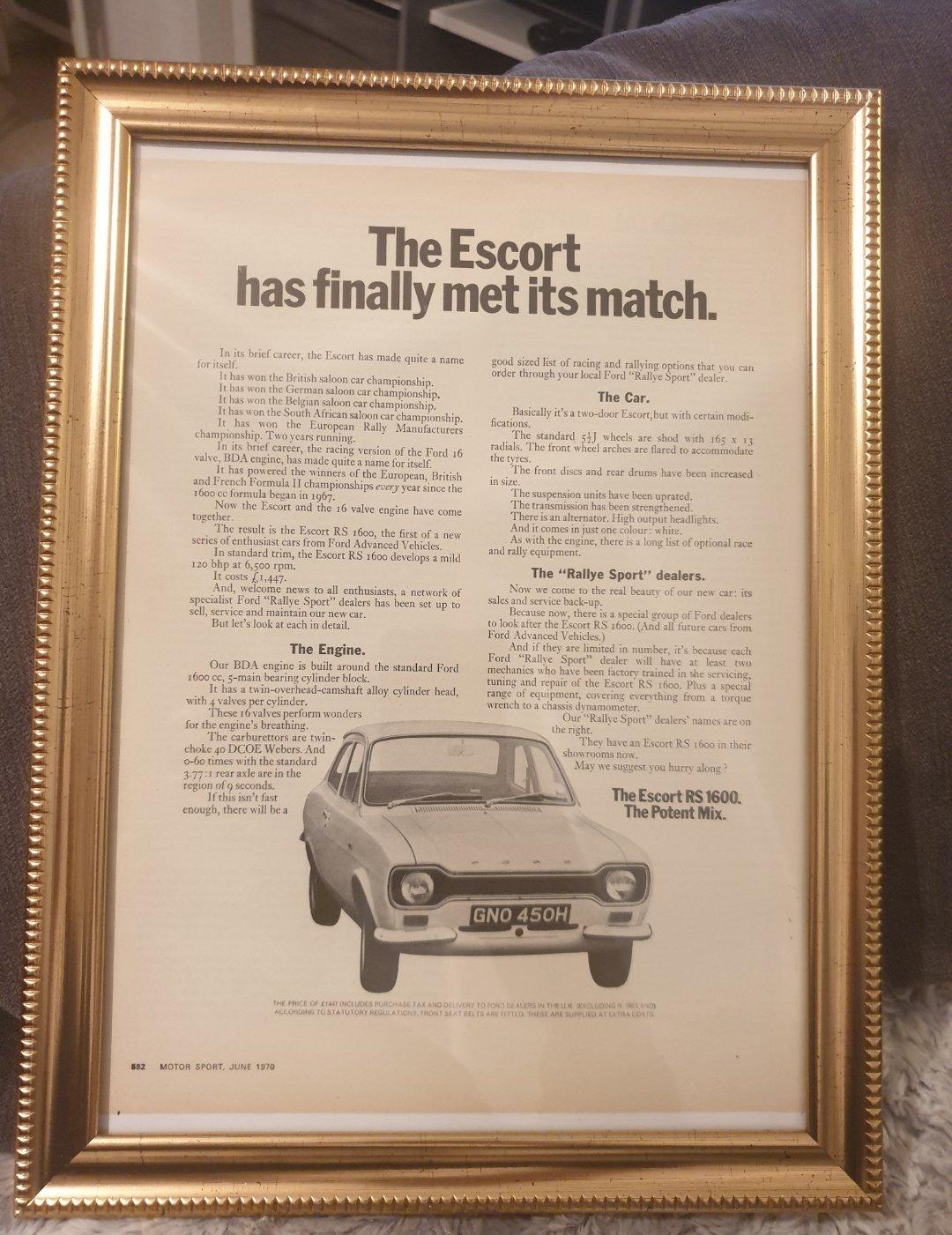 Original 1970 Escort RS1600 Framed Advert For Sale (picture 1 of 2)