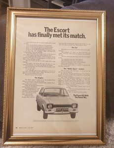 1970 Original  Escort RS1600 Framed Advert