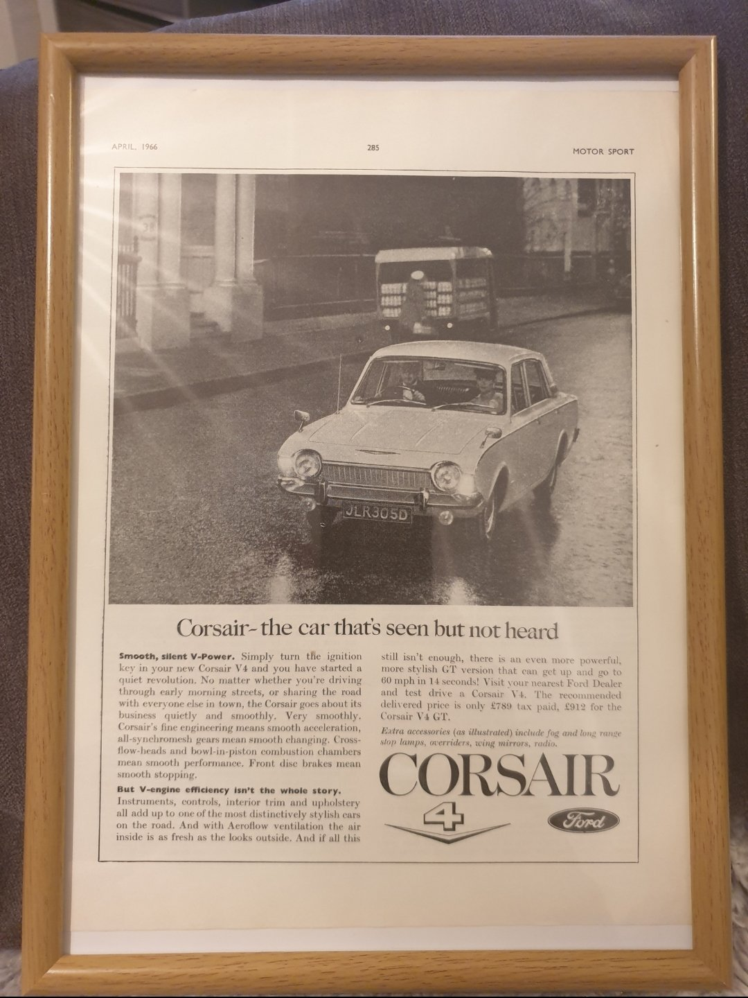 1966 Ford Corsair Framed Advert Original  For Sale (picture 1 of 2)