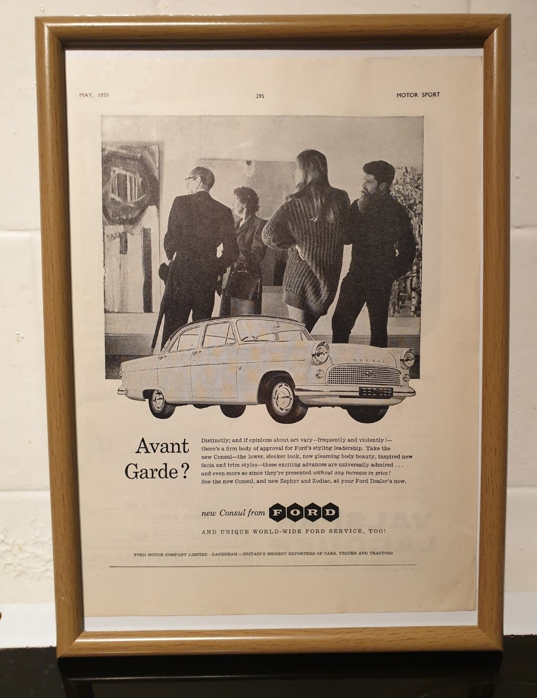 1959 Original Ford Consul Framed Advert For Sale (picture 1 of 2)
