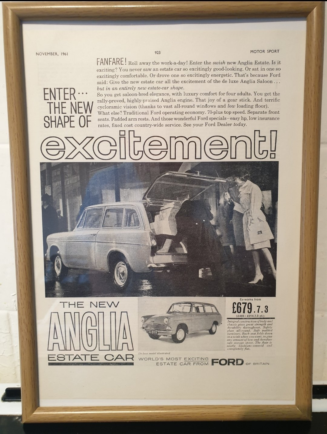1961 Ford Anglia Estate Framed Advert Original For Sale (picture 1 of 2)