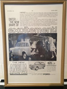 Ford Anglia Estate Framed Advert Original