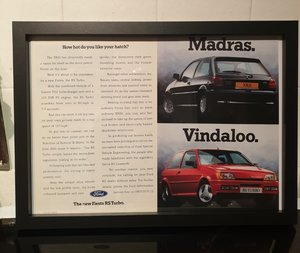 1990 Original Fiesta RS Turbo Framed Advert