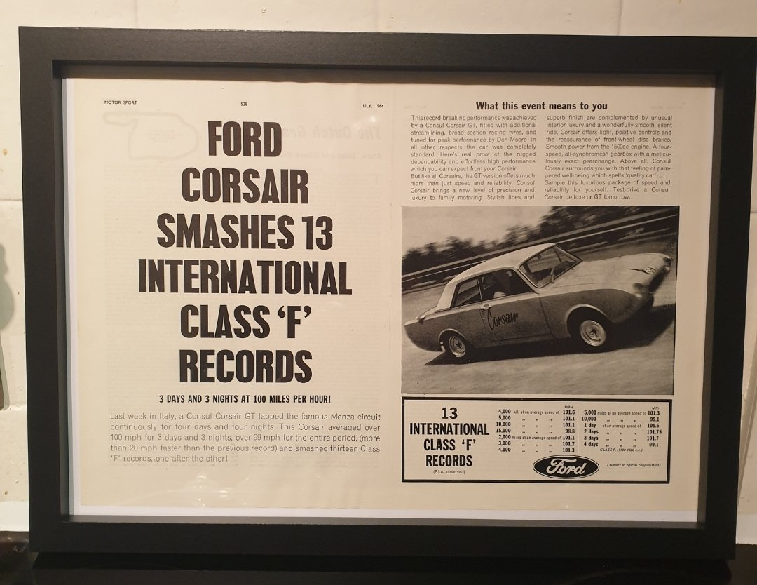 1964 Ford Corsair Framed Advert Original  For Sale (picture 1 of 2)
