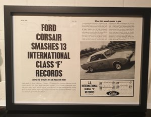 1964 Ford Corsair Framed Advert Original
