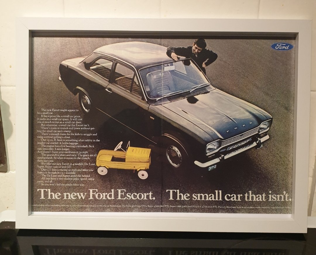 Original 1968 MK1 Escort Framed Advert For Sale (picture 1 of 3)