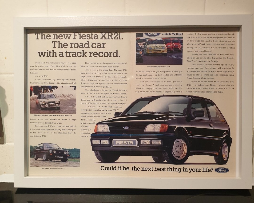 1989 Fiesta XR2i Framed Advert Original  For Sale (picture 1 of 2)