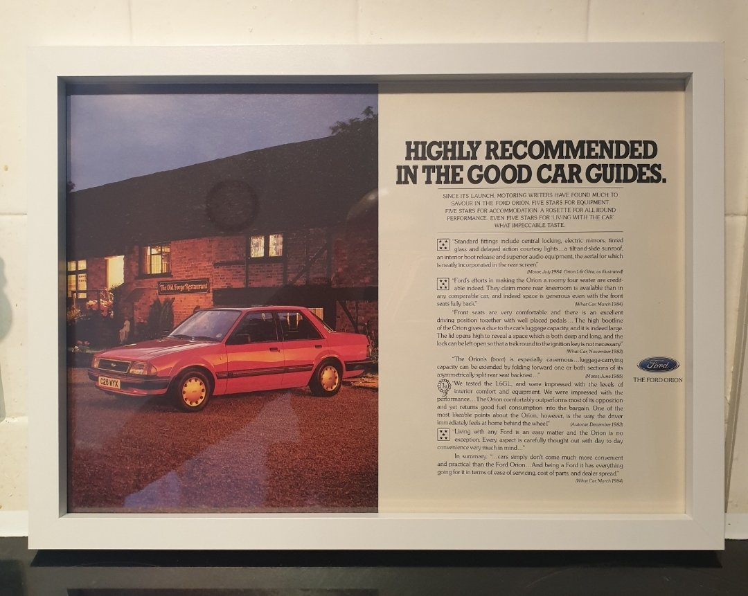1985 Ford Orion Framed Advert Original  For Sale (picture 1 of 2)