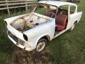 1963 Ford Anglia 105e rolling body shell race car rally