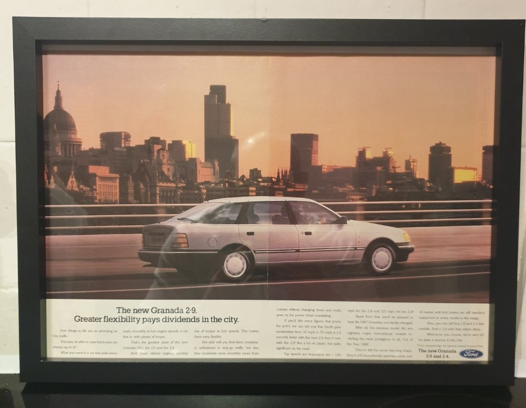 1987 Original Ford Granada Framed Advert For Sale (picture 1 of 2)