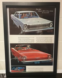 Ford Galaxie Framed Advert Original