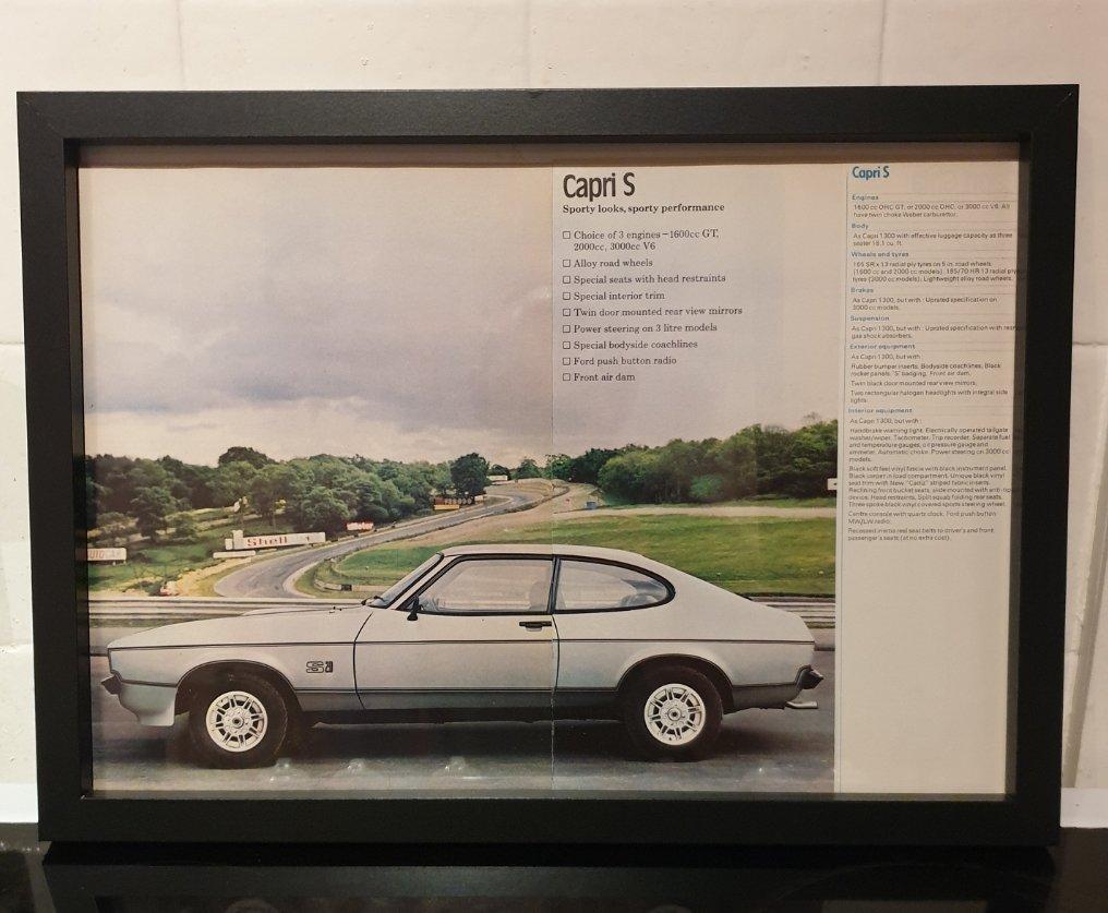 1976 Ford Capri Framed Advert Original  For Sale (picture 1 of 2)