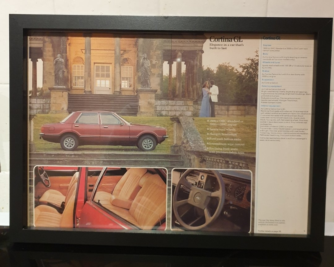 1976 Ford Cortina Framed Advert Original  For Sale (picture 1 of 2)