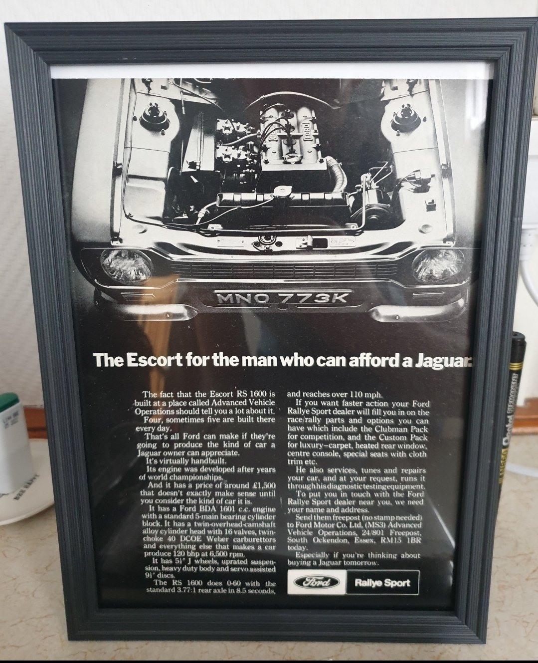 1971 Escort RS1600 Framed Advert Original  For Sale (picture 1 of 2)