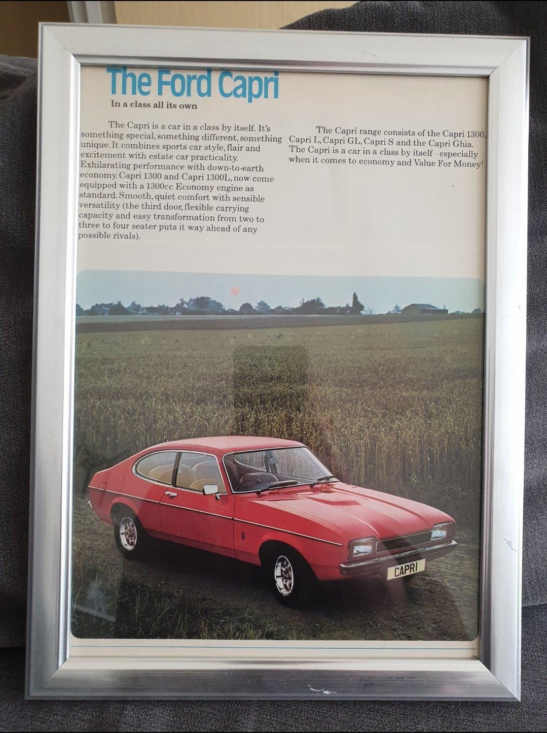 1976 Ford Capri MK2 Framed Advert Original  For Sale (picture 1 of 2)